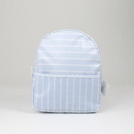 Mochila Guardería Rayas Blancas Sobre Azul