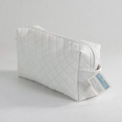Neceser Cuadrado Polipiel Guateado Blanco