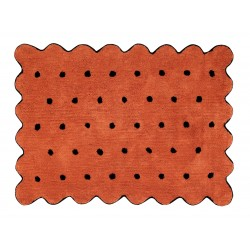 Alfombra Lavable Biscuit Terracota Negro