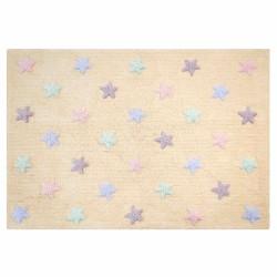 Alfombra Lavable Estrellas Tricolor Vainilla