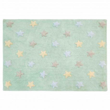 Alfombra Lavable Estrellas Tricolor Menta Claro