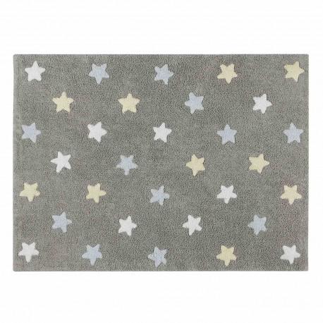 Alfombra Lavable Estrellas Tricolor Gris Azul
