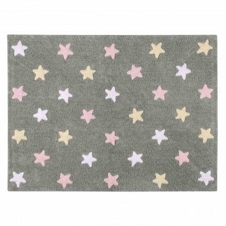 Alfombra Lavable Estrellas Tricolor Gris-Rosa