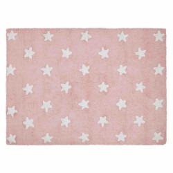 Alfombra Lavable Estrellas Rosa-Blanco