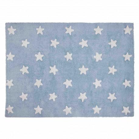 Alfombra Lavable Estrellas Azul-Blanco