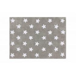 Alfombra Lavable Estrellas Gris-Blanco