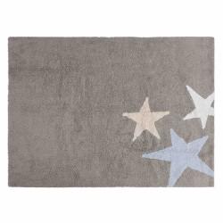 Alfombra Lavable Tres Estrellas Tricolor Gris-Azul