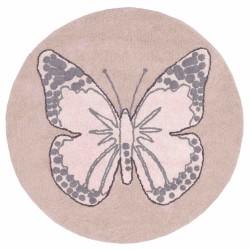 Alfombra Lavable Mariposa Rosa