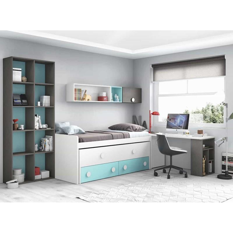 Dormitorio juvenil compacto l015 de glicerio chaves for Dormitorio juvenil compacto